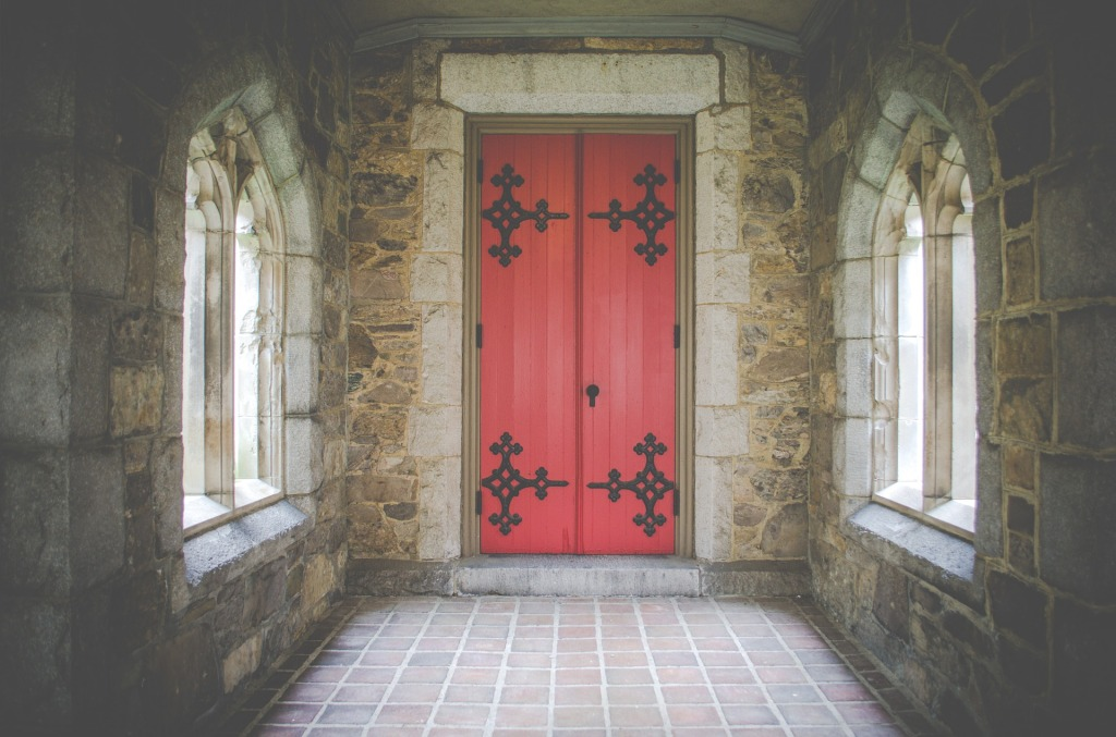 church-red doors